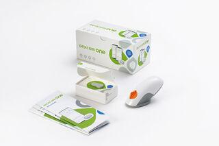 Dexcom ONE kaste ar sensoru un raidītāju